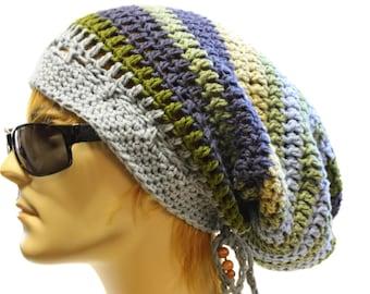 Dread Tam Hippie Hat Dreadlock Sock Tam Crochet Beanie Mens or Womens Festival Wear