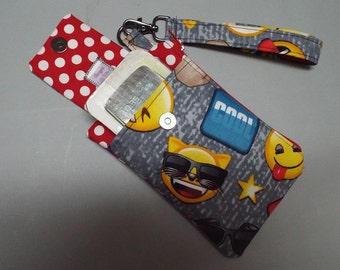Womens Wristlet Wallet or Small Bag Cool Dude Emoji Fabric