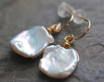 Keshi One of a Kind Freshwater Pearl Earrings, Luminous, Iridescent, GORGEOUS, 14K Gold Fill or Sterling Silver