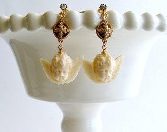 White Topaz Neo Classical Pyrite EcoIvory Cherub Earrings - Mon Petite Cherubim Earrings