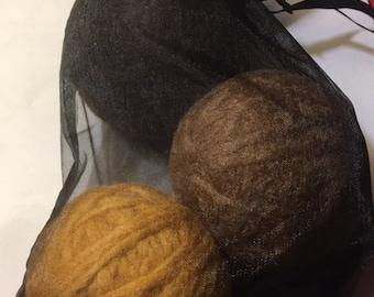 Dryer Balls WOOL, set of 3 w/gift bag EARTH TONES light brown dark brown tan laundry aide shorten drying time less wrinkles