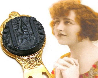 Lil Church BUTTON bookmark, Victorian black glass chapel, building, on gold.