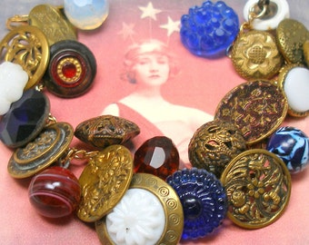 "Patriotic Antique BUTTON gold charm bracelet, Victorian red, white & blue glass, 7.25"" one-of-a-kind jewellery."