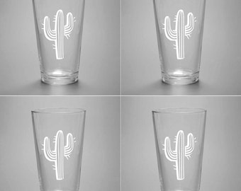 4 Cactus Pint Glasses - set of etched beer giftes