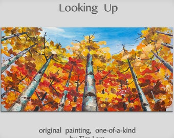Original Landscape Painting fine art Looking Up Forest Original huge modern acrylic on canvas by Tim Lam 48x24x1.3