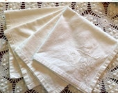"BIG SALE - Vintage Napkins - Solid White with Rose Cutwork - 16"" Square"