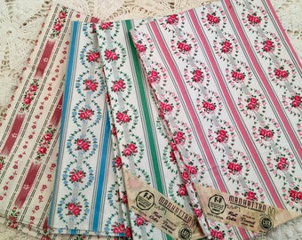 New Old Stock Vintage Pillow Ticks - Pillow Cover - Manhatten Brand - Lady Bedford Brand - Farmhouse Linens - No Zippers - Blue Pink Green