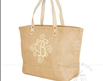 Monogrammed Initial Jute Tote Bag with Scroll Design - Personalized Natural Burlap totes, Bridesmaids gift ideas teacher, Fancy Ornate Font