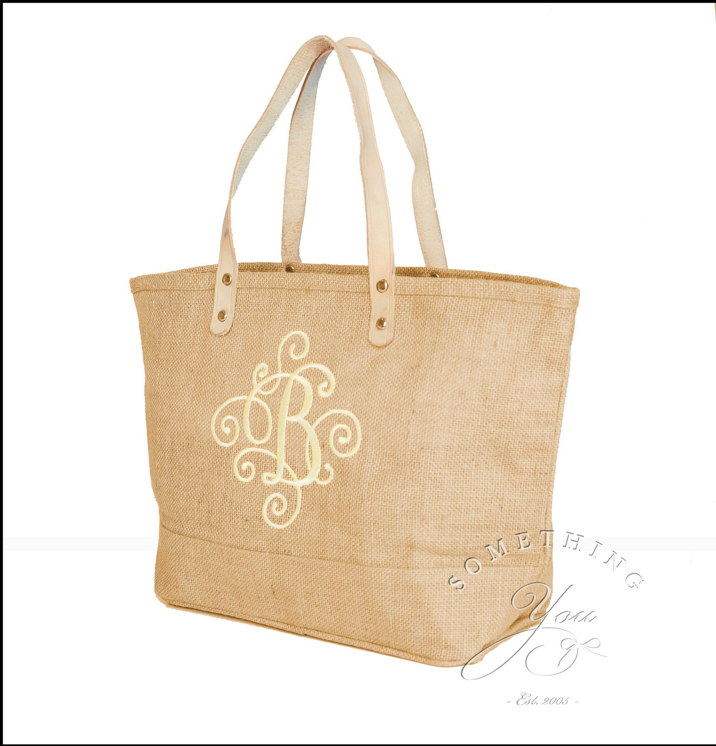 Monogrammed Initial Jute Tote Bag With Scroll Design