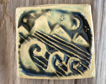 Night Swimming Magnet - Clay - Pottery - Ceramic
