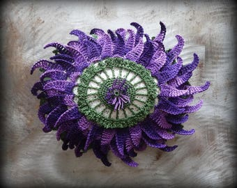Purple Flower Stone, Bloom, Crocheted Lace, Original, Handmade, Home Decor, Large, Home Decor, Monicaj