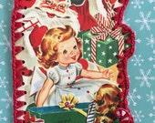 Crochet Card - Recycled Vintage Christmas Greeting - Santa, Girl, Puppy