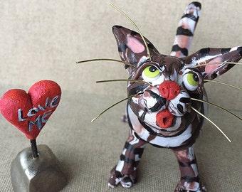 Brown Tiger Cat Sculpture - Cat Figurine - Polymer Clay Tabby Cat Sculpture - Polymer Clay Cat - Gift For Cat Lover