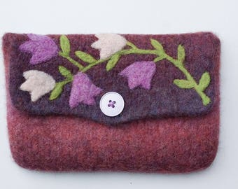 Felted bag pouch violet purple peach wool purse bag hand knit needle felted flowers