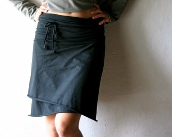 Wrap skirt, Cotton skirt, Black skirt, Jersey skirt, Womens clothing, Pencil skirt, Maternity skirt, plus size clothes, Mini skirt, tank top