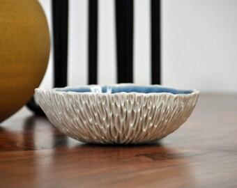 SALE Indigo Medium Geode Bowl - Layered Blue White Small Porcelain Bowl Modern Ceramic Bowl