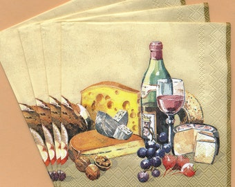 PN099 Paper Napkins by Mesa Fina ~ 5x5 or 6.5 x 6.5 ~ Fromage et Vin Cheese & Wine ~ Set of 4