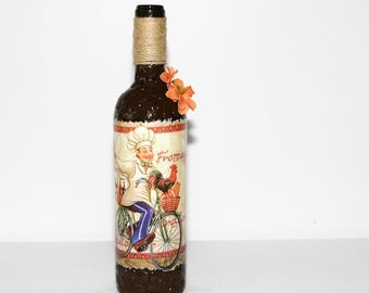 Decorative Kitchen Wine Bottle Brown Gift Handmade Home Decor