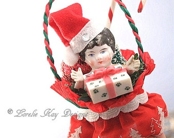 A New Puppy Vintage Inspired Christmas Art Doll Ornament Doll Hanging Art Doll Mixed Media China Doll Head Lorelie Kay Original