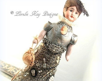Miss Cameo Art Doll Sculpture Jewelry Doll Assemblage Art Doll  One-of-a-kind Mixed Media