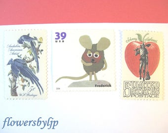 Postage Stamps for Kids Mail, Child Book Animals - Apple - Blue Jay Stamps, Mail 10 Cards or Birthday Party Invitations 49 cent postage 1 oz