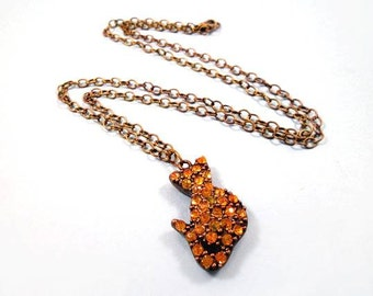 CAT Necklace, Amber Rhinestone and Brass, Cat Pendant Necklace, FREE Shipping U.S.