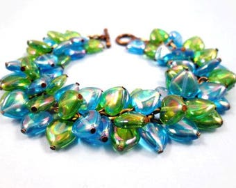 Heart Charm Bracelet, Aqua Blue and Green Luster Sweetheart Bracelet, Brass Beaded Bracelet, FREE Shipping U.S.