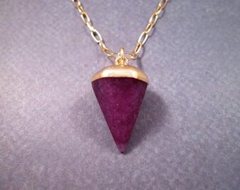 Gemstone Necklace, Quartz Crystal Necklace, Violet Stone Pendant, Gold Chain Necklace, FREE Shipping U.S.