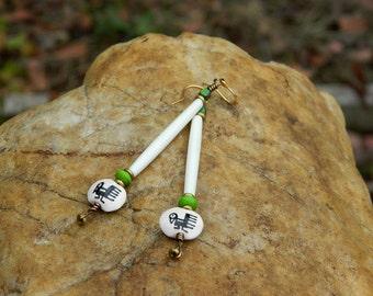Natural Bone Boho Dangle Earrings