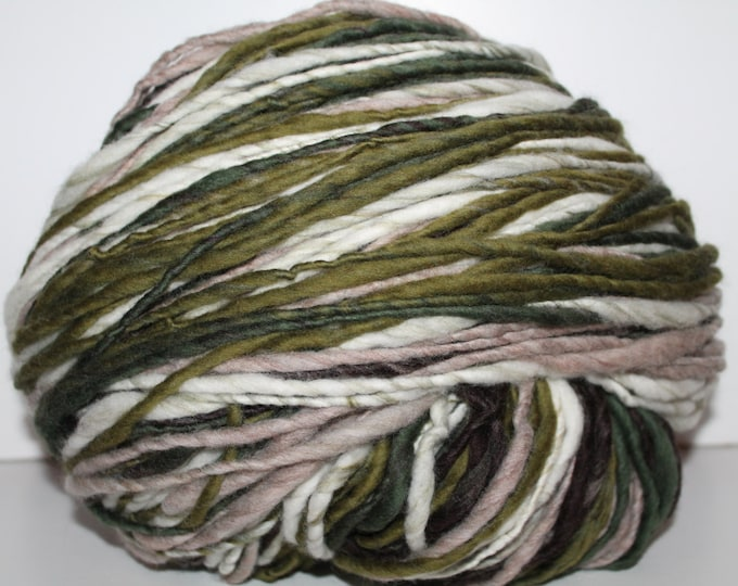 Handspun Merino Wool Yarn.  Single Ply Hvy. Worsted Weight. Self Striping. Huge Skein. 1lbs 5oz. 555 yards