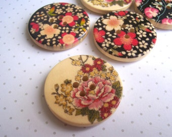 """Large Wooden Buttons with Floral Detail - pink and black flowers - 30mm 1"""" wide - 5 pieces - 4 holes - botanical style - SALE"""