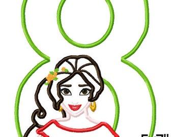 Princess Latin 8 Birthday Machine Embroidery Applique Pattern Design 5x7 6x10 7x11 INSTANT DOWNLOAD