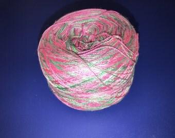 3.4oz 2 ply Lace Weight Silk Yarn - YARNGASM - pink, green