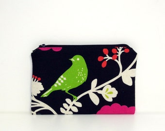 Small Zippered Notions Pouch - Madrigal with green bird, Japanese fabric
