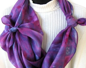 Scarf for Women Hand Dyed silk Scarf Square Scarf Raspberry Blue Purple Scarf Unique Scarves Gift for her Boho Fashion spring scarf