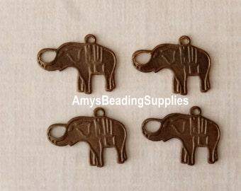 4 Charmed Elephant 12x16mm - Vintaj Natural Brass (DP146)