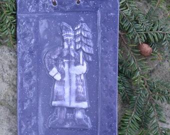 Blue Santa Tile in Snowy Glaze