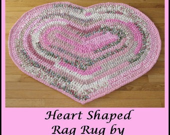 Rug, Rag Rug, Heart Shaped, Handmade, Crocheted, Cotton Fabric, Home Decor, Pink, White and Green, Accent Rug, Throw Rug, Bedroom Rug