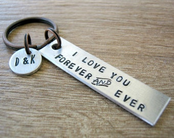 Personalized Couples Keychain, I Love You Forever & Ever, initial disc, add a date on back, Valentine's Day, boyfriend gift, girlfriend gift