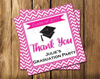 Printable Graduation Hot Pink Chevron Gift Tags