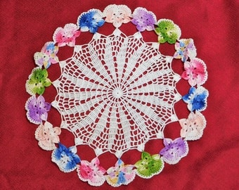Vintage Crocheted Lace White Multicolor Doily 12 inch