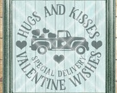 Valentine SVG File - Truck Full of Hearts SVG - Hugs N Kisses svg - Commercial Use SVG file - Digital svg, dfx, png and jpg files available