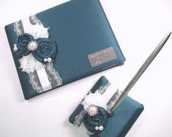 Personalized Teal Wedding Guest Book and Pen Set with Handmade Roses, Chiffon Flowers, Pearls, Rhinestones and Engraving