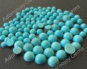 Gemstone Cabochon Turquoise 8mm Rose Cut Fancy FOR TWO