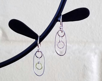 FREE SHIPPING Clearance SALE - Sterling Silver Simple Oval with Triple Circle Dangle French Wire Earrings