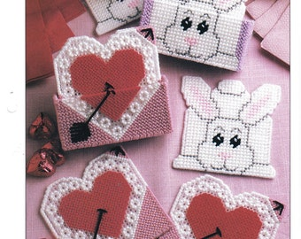 Holiday Coaster Sets ~  plastic canvas pattern  ~  Valentine's and Easter pattern