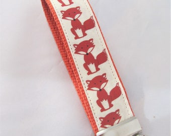 Fox KeyFob Key Chain Wristlet in Renaldo the Fox - Original Fabric Design - Fabric Keychain