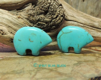 The Best Turquoise Zuni Earring Bears by the Pair make your own dreamcatcher or earrings Mama Size 21 x 16 mm