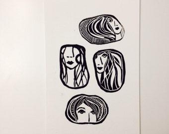 linoprint, blockprint, artprint, linocut print, 6x9, handprinted, handpulled, handcarved, women, faces