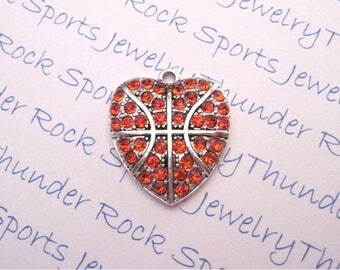 BASKETBALL CHARM, Antique Silver, orange crystals, PENDANTS, Sports, balls, hearts, b ball, player, sports mom jewelry